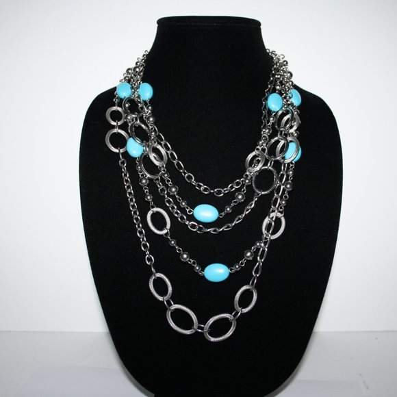 Large silver and turquoise layered necklace adjust